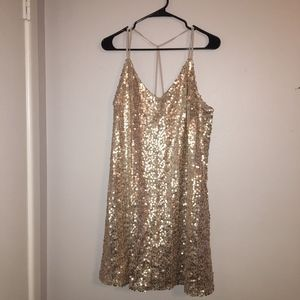 Strappy Y Back Sequin Mesh Dress